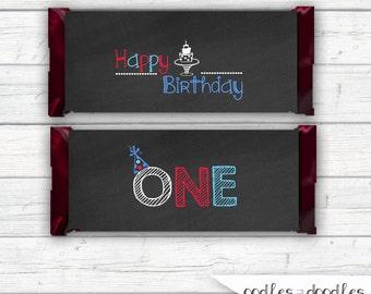 First Birthday Party, Candy Bar Wraps, Boy's First Birthday Printable Candy Favors, Printable Candy Wraps