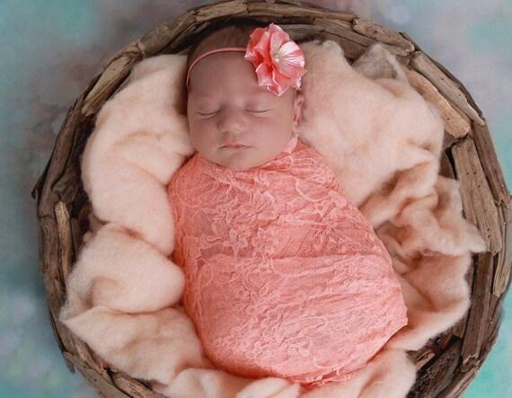 Peach papaya stretch lace swaddle wrap AND/OR Peach Hydrangea headband, newborn photo shoots, Lil Miss Sweet Pea