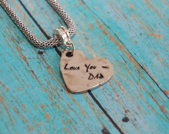 Bronze Handwriting Charm, Keepsake Bronze Handwriting Charms from YOUR Loved One's Actual Handwriting, Handwriting Charm, Memorial Gift