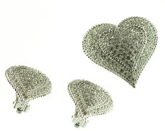 Erwin Pearl Rhinestone Heart Set