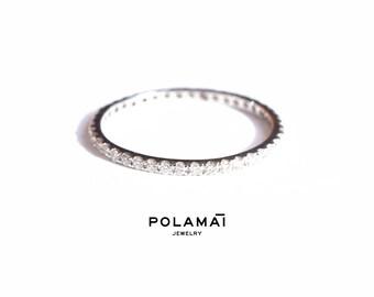 White Gold Eternity Ring 0.30ctw 18k 14k 1.4mm Full or Half Diamond Eternity Band . Wedding Band Micro Pave Ring . White Gold. Polamai