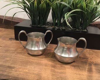 Vintage Concord Pewter Sugar and Creamer set (Stamped with Concord 487)
