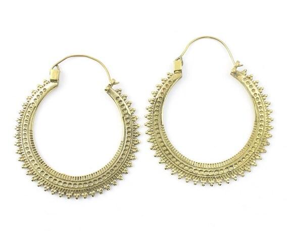 Bekasi Earrings, Large Ornate Ethnic Hoop Earrings, Tribal Brass Earrings, Festival Earrings, Gypsy Earrings