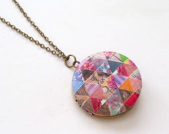 Patchwork  Locket, Floral Geometric Locket, Brass Art Locket Necklace, Patchwork Quilt Locket, Floral Locket, Round Locket Pendant, Triangle