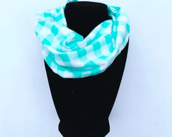 Aqua Baby Infinity Scarf - Aqua Toddler Infinity Scarf - Aqua Scarves - Scarves for girls- Scarves for boys - Infinity scarves - checked