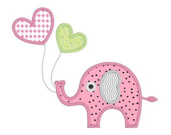 Elephant Applique Machine Embroidery Design, Cute Baby Elephant Embroidery, Jungle Animal, Balloons, 3 Sizes, Instant Download, No: JGS004-2
