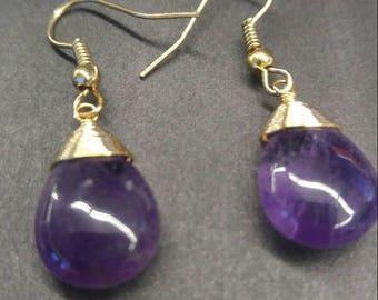 Wire wrapped amethyst drop earrings