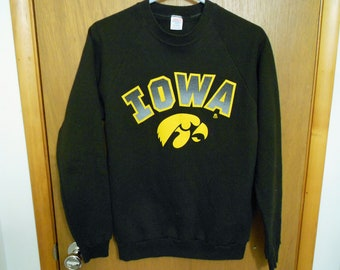 Vintage Northern Iowa Waffle Knit crew neck sweatshirt Panthers Basketball football college sweatshirt tan super soft Dodger - Large