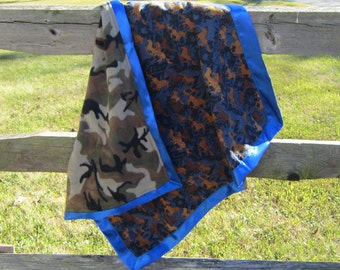 Handcrafted Horses Brown on Navy Flannel Baby Blanket w/fleece back....choose border color
