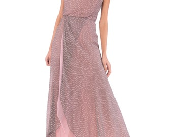 Lilac Polka Dot Spaghetti Strap Maxi Dress Gown Size: