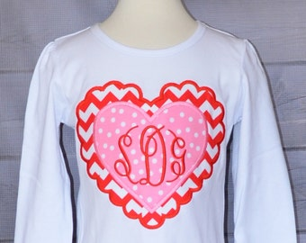 Personalized Valentine's Monogram Scallop Hearts Applique Shirt or Bodysuit Girl or Boy