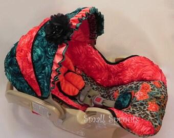 Reina-Coral Roses & Jade Roses/Cheetah Roses Fabric Infant car seat cover 5 piece set