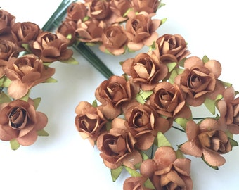 36 Small Brown Kraft Mulberry Flower Paper Roses for DIY Hair Accessories, Wedding Decorations, Scrapbook Crafts and Embellishments