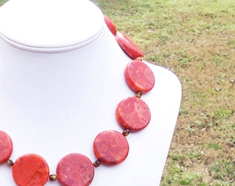 Large Coral Necklace Coral Statement Necklace Chunky Coral Necklace Coral Gemstone Necklace Red Statement Necklace 30mm Round Coral Necklace