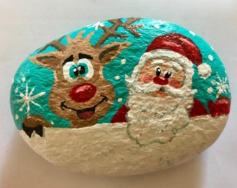 Santa and helper painted rock paperweight