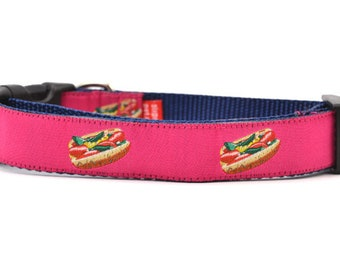 Chicago Style Hot Dog - Dog Collar - Pink