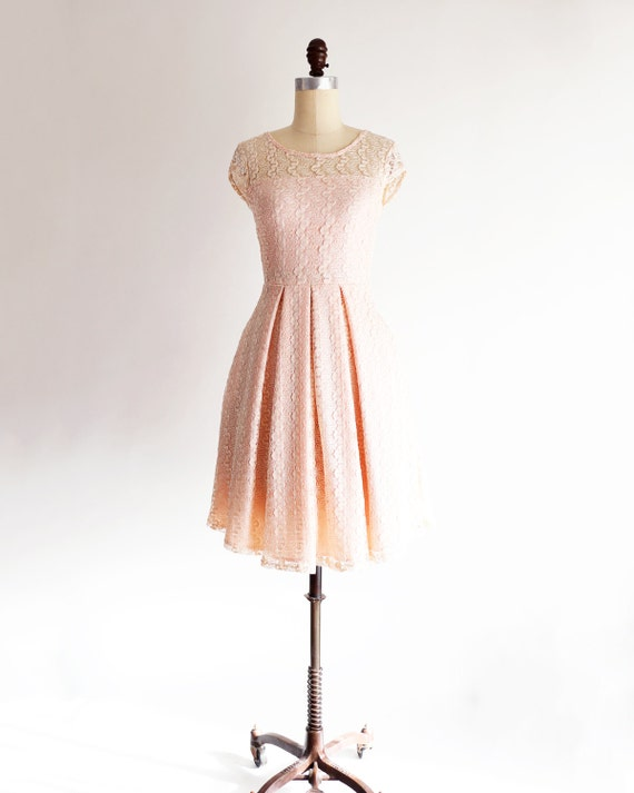 GOSSAMER Petal light pink lace bridesmaid dress with cap