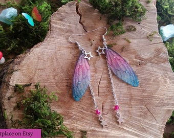 Beautiful Blue and Pink Star Fairy Wing Earrings