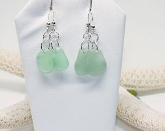Sea Glass Earrings, Seafoam Sea Glass Jewelry, Puerto Rico Sea Glass, Seaglass, Gift for Mom, Beach Gift, Beach Earrings, Summer Jewelry