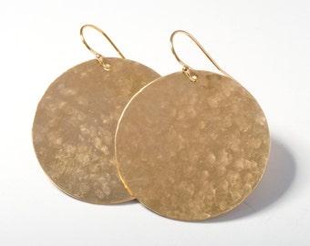 Large Gold Earrings, Large Disk Earrings, Gold Circle Earrings, Circle Earrings, Gold Disk Earrings, Hammered Gold Earrings, Gold Earrings