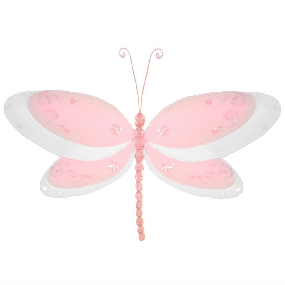 PINK DRAGONFLY DECORATION hanging nylon bedroom room nursery