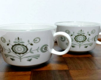 Vintage Franciscan Heritage Coffee Cups, Olive Green Flowers, Floral Tea Cups, Gift for Her, Him, Coffee, Tea Lover, Earthenware, Set of 2