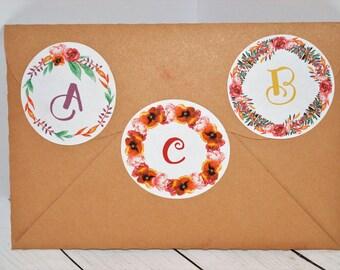autocollants initiale Couronne de fleurs, stickers enveloppe, autocollants paquet, Happy mail