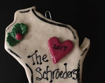 Personalized Wisconsin State Ornament