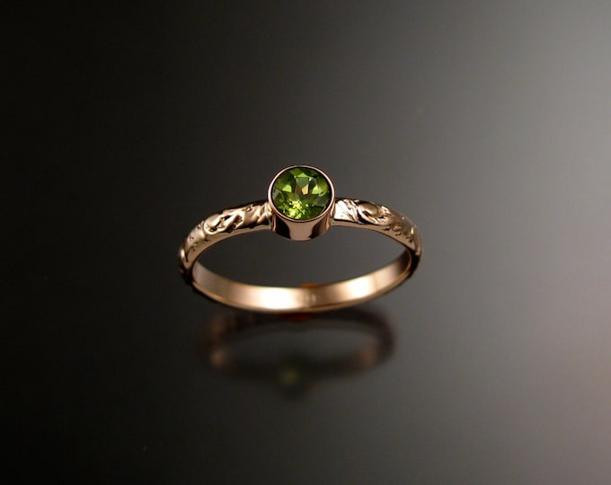 Peridot ring 14k Rose Gold bezel set Victorian floral pattern ring made to order in your size