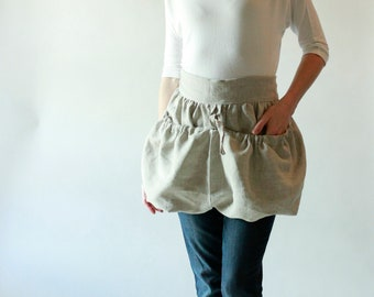 Gathering Apron in Oatmeal Linen