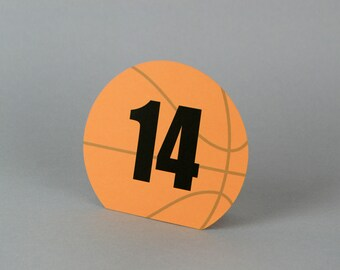 Basketball Table numbers  |  Sports team banquet | basketball wedding | basket ball bar / bat mitzvah | sports party decor