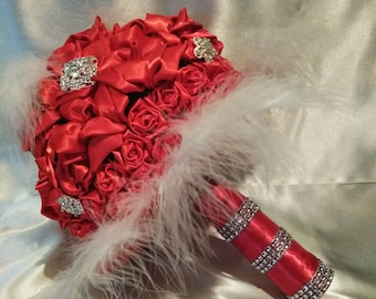 Red Kanzashi rose bouquet enhanced with feathers and  brooches