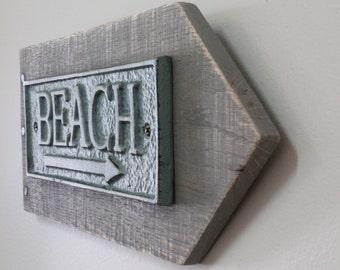 Beach Cast Iron Sign, Reclaimed Wood, Wood Beach Arrow, Cast Iron Lake Sign, Beach Signs, Distressed Beach Sign, Nautical Signs, Beach Decor