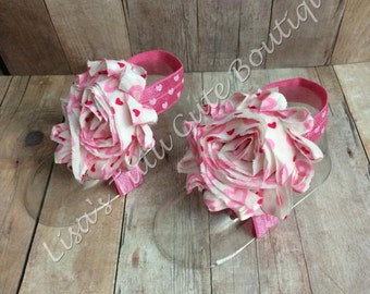 valentines sandals, infant sandals, pink sandals, heart sandals, valentines barefoot sandals, hearts barefoot sandals, pink barefoot sandals