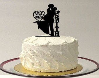 MADE In USA, Mr and Mrs Silhouette Wedding Cake Topper, Personalized Silhouette Wedding Cake Topper, Bride and Groom Dancing Wedding Topper