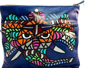Handpainted leather foldover handbag