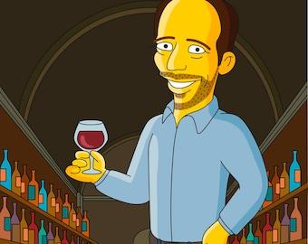 Wine lover gift - custom cartoon portrait from photo / wine lovers gift / wine gifts for men / wine gifts for women / wine gift for dad