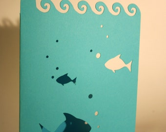 Paper Cut Fish and Lighthouse Card