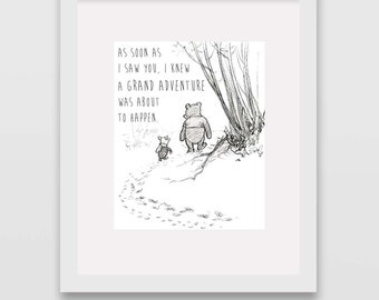 Grand Adventure Classic Winnie the Pooh Nursery Wall Art INSTANT DOWNLOAD