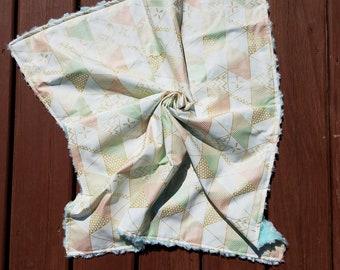 Plush Blanket \\ Lap Quilt \\ Baby Blanket \\ Nursery Crib Quilt Bedding \\ Nursery Decor \\ Crib Quilt \\ Gold and Pink Geometric Triangles