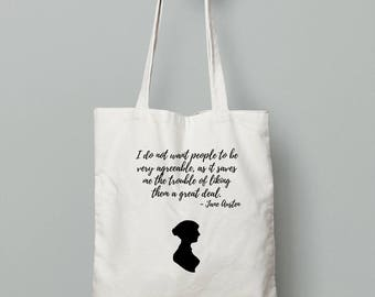 Jane Austen Quote Tote bag | Sarcastic | Literary Gift | Bookish Gift | Pride and Prejudice | bibliophile