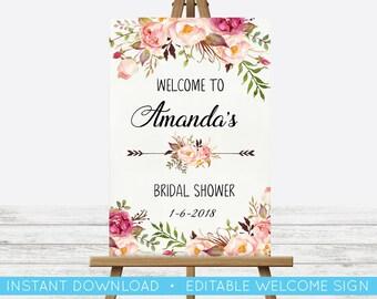 EDIT YOURSELF, POSTER Bridal Shower Welcome Sign, Wedding Floral Sign, Editable Bridal Shower Print, Welcome Sign, Custom Editable Sign