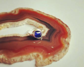 Delicate Silver Wire Wrapped Cobalt Blue Glass Ring~Any size