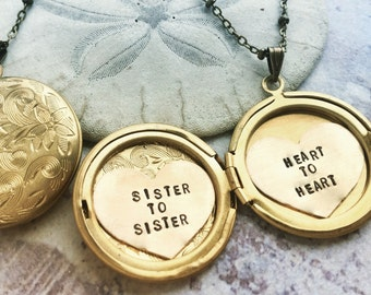 Personalized locket necklace, sister to sister, heart to heart, custom message, gift for bestie, heart locket, BFF locket necklace