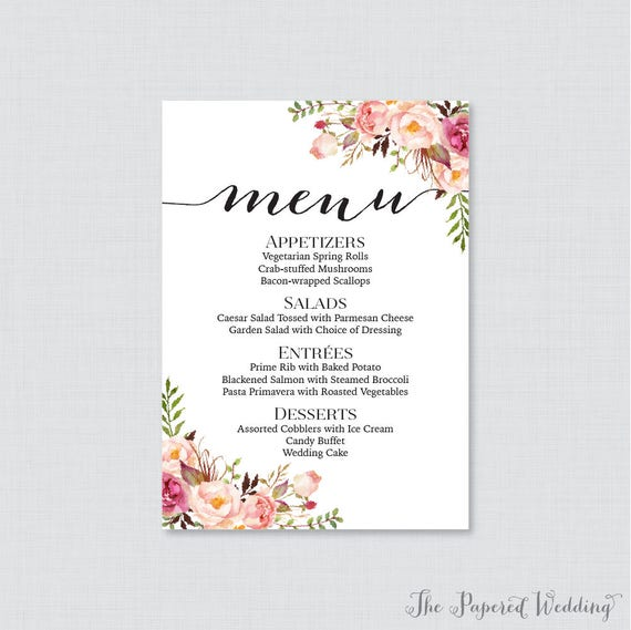 Printable or printed wedding menu cards pink floral wedding printable or printed wedding menu cards pink floral wedding menu cards rustic flower menu cards for wedding 5 x 7 size customized 0004 mightylinksfo Choice Image