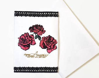 Double card, love and Roses theme