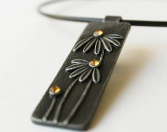 Polymer Clay Jewelry Pendant Necklace Chamomile Camomile Daisy  Flower  Floral Summer Exclusive Polymer Clay Pendant Necklace Birthday Gift
