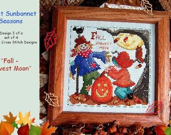 "SWEET SUNBONNET SEASONS-design 3 of a set of 4 - ""Fall - Harvest Moon"" cross stitch chart graph pattern"