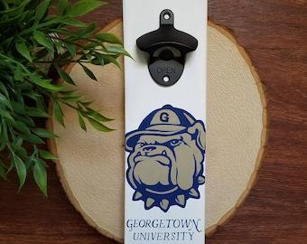 Hand Painted Georgetown Hoyas Bottle Opener