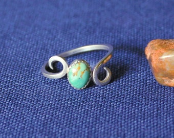 Sterling Silver and Turquoise Ring, Turquoise Ring, Kingman Turquoise, Sterling Silver, Cabachon, Cabachon Ring